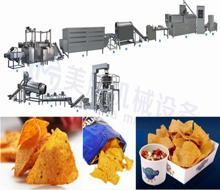Dorito chips making equipment Tortilla corn chips processing line chips extruding machinery