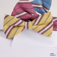 Fashion White Stripe Boys Casual Linen Bow Ties China Factory