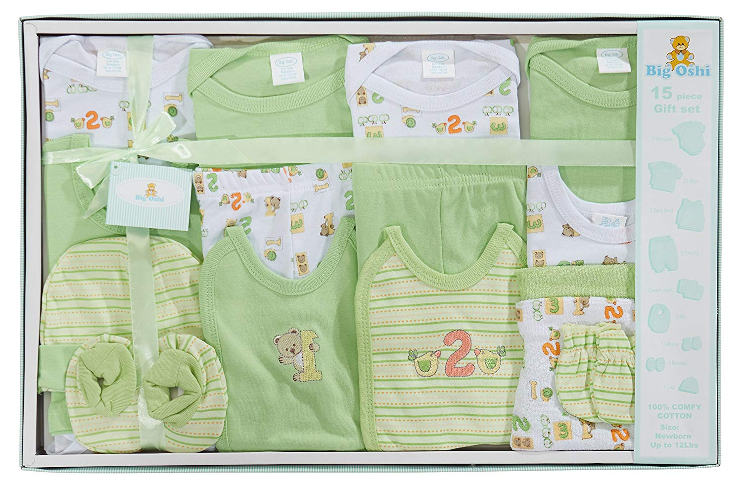Big Oshi 15 Piece Layette Newborn Baby Gift Set for Boys - Great Baby Shower or Registry Gift Box to Welcome a New Arrival - All Essentials Including: Bodysuits, Shirts, Pants, Bibs, and More, Green
