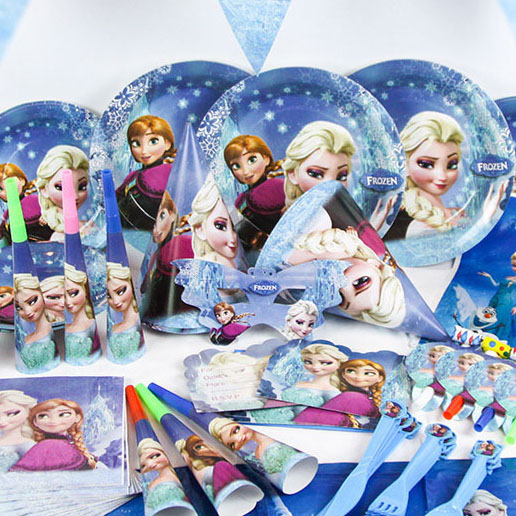 wholesale kid Creative ice romance frozen festive Children's birthday party supplies,paper set props