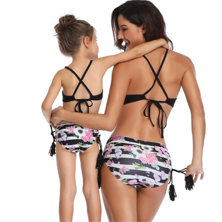 Beautiful And Lovely Black Printed Bikini Mother And Daughter Swimsuit