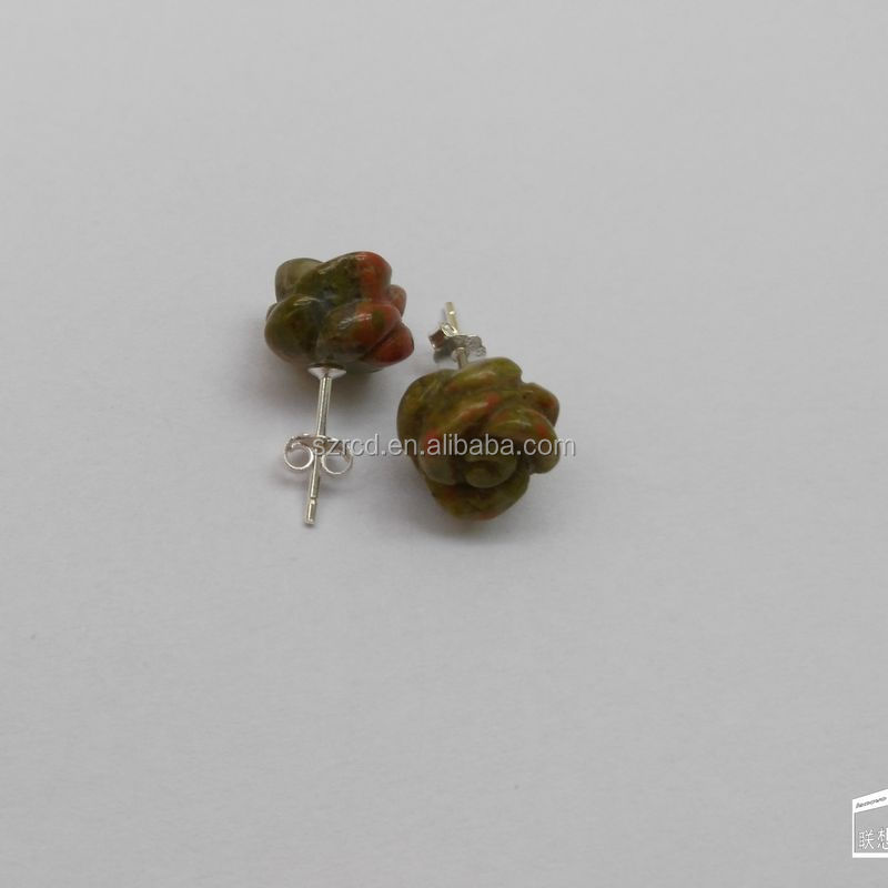 Silver earring gems natural stone unakite rose earring jewelry