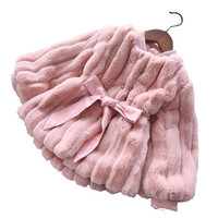 winter baby girl jacket kids faux fur jacket girl pink blue with big bow korean clothes girl coat children clothes wholesale