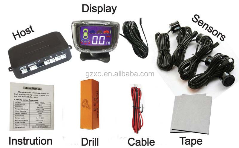 2015 factory wholesale parking sensor lcd car parking system high quality 4 sensors