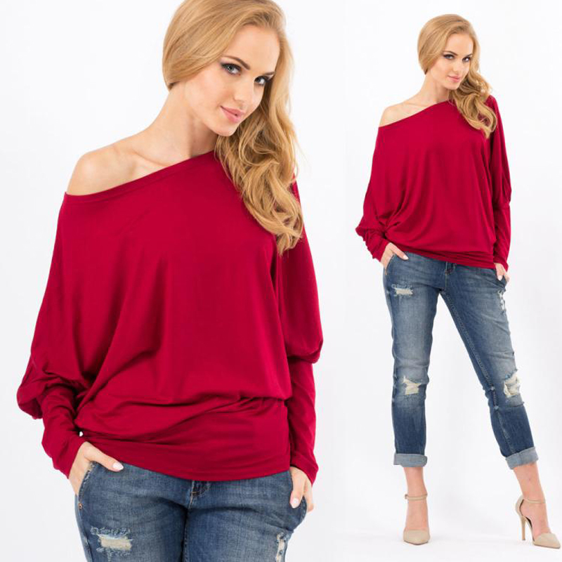 18d82f7a715 Get Quotations · T-shirt Women Fashion Batwing Long Sleeve Cut-Out Off  Shoulder Tops Asymmetric Hem