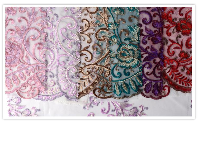 Hot sale customized comfortable embroidery poly purple lace fabric wedding