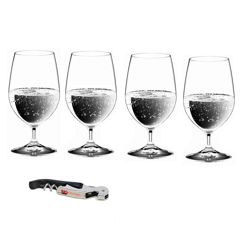 Riedel Vinum Gourmet Lead-Free Crystal 4 Piece Soft Drink/Water Glass Set with Bonus BigKitchen Waiter's Corkscrew
