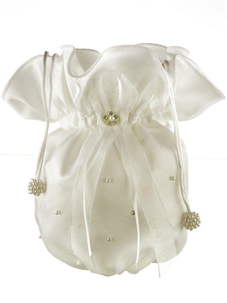 Crystal Faux Pearl Chiffon Ribbon Crystal Pearl Scattered Bridal Money Bag Ivory