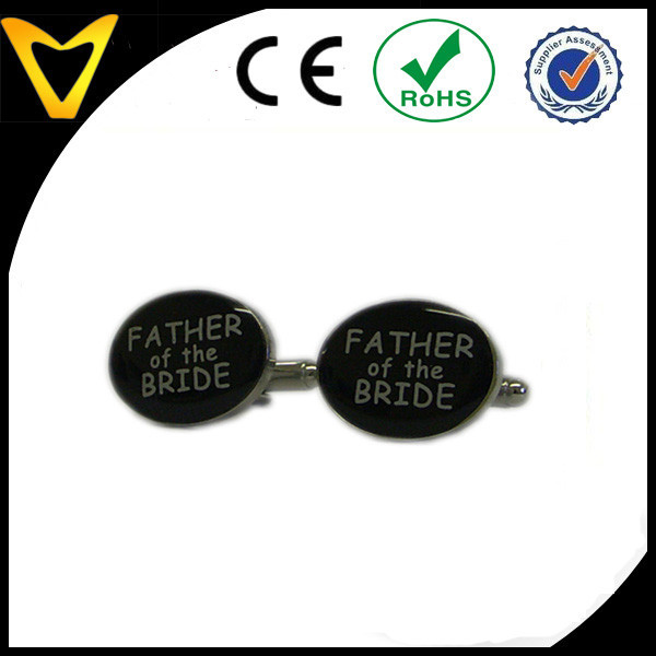 High Quality Black Oval Father of the Bride Wedding Cufflinks
