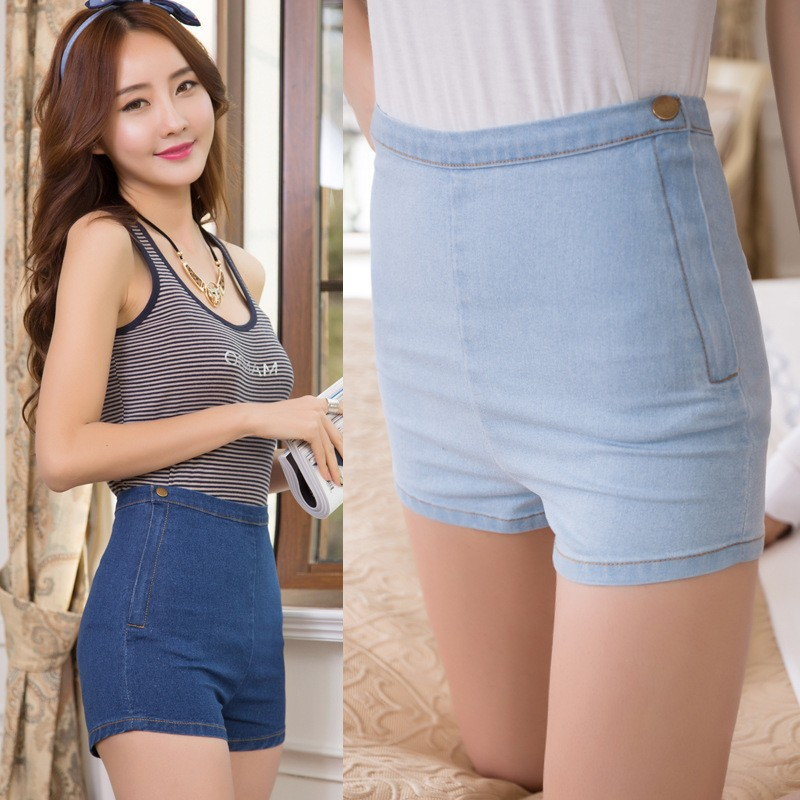 Side Zipper Buttons Shorts Design Women High Waist Jeans From Turkey Manufacturers