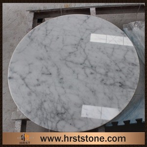 Custom cut polished white round marble slab table top