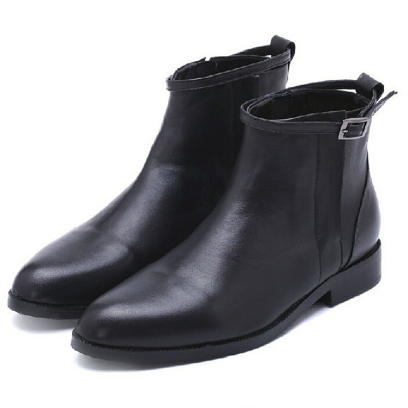 269cfde68523 Get Quotations · 2015 Autumn Winter Women Short Black Motorcycle Shoes  Genuine Leather Luxury Designer Brand Vintage Flat Ankle