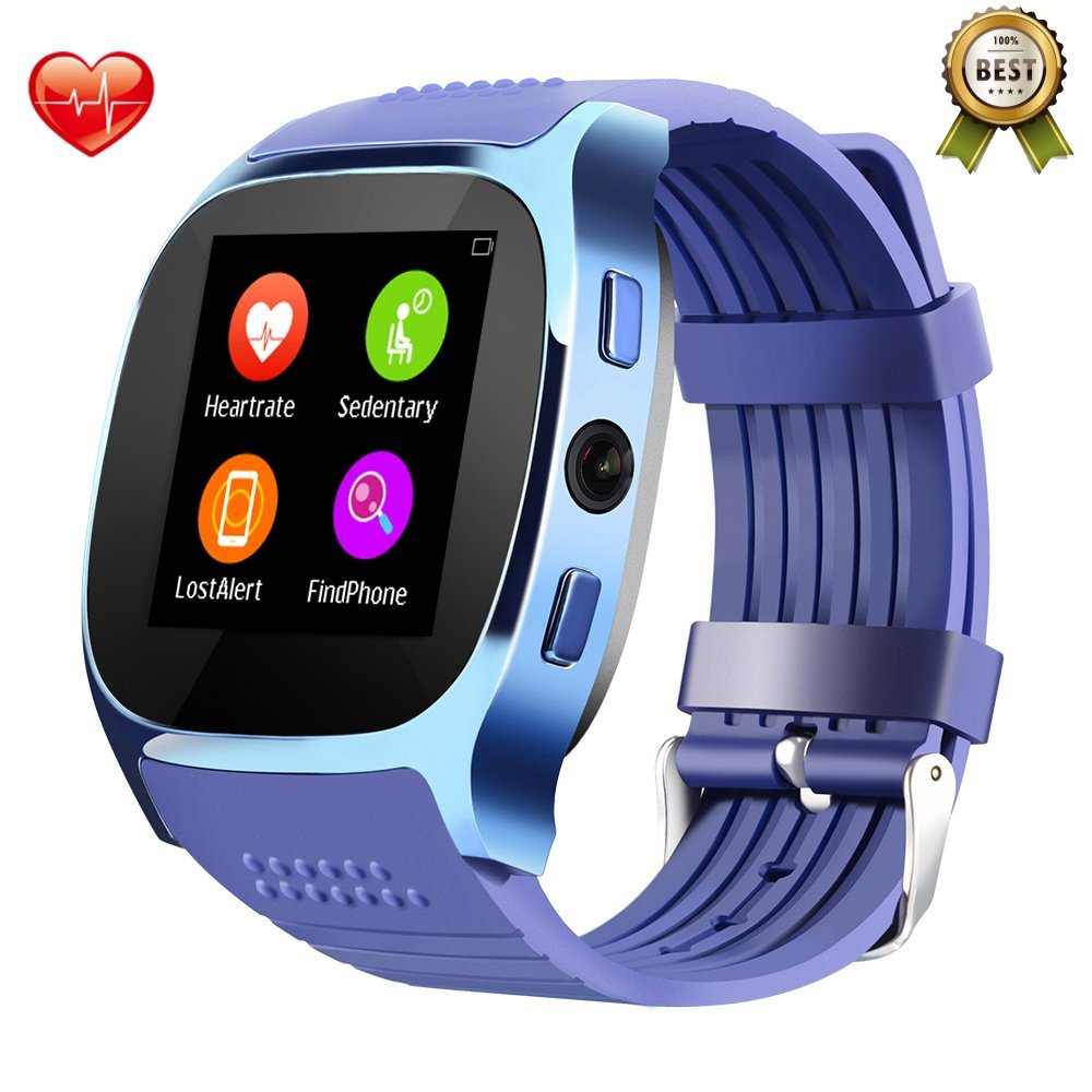 [NO SIM Slot/Heart Rate Monitor] Smart Watch Heart Rate Blood Pressure Monitor Tufen T8 Bluetooth 4.0, Pedometer Calorie Counter Sleep Monitor, Touch Screen for iPhone Android Smartphone T8 M Blue
