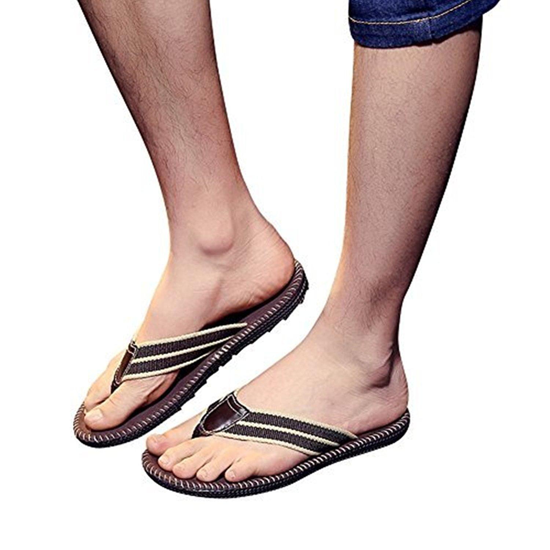 de5e9ed0a58d1 Get Quotations · Mens Flip Flops Summer Beach Thong Shoes House Slippers  For Men Casual Fisherman Slides Faux Leather