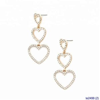 31cec662ca8063 Bulk Triple Crystal Chunky Heart Hoop Earrings - Buy Bulk Hoop ...