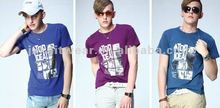 2012 kindly colorful handfeel printing 100%cotton sport O-neck mens t-shirt