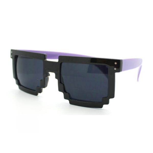 Novelty Nerd Geek Gamer Colorful 2-Tone SunGlasses Pixelated 8-Bit Pink Green