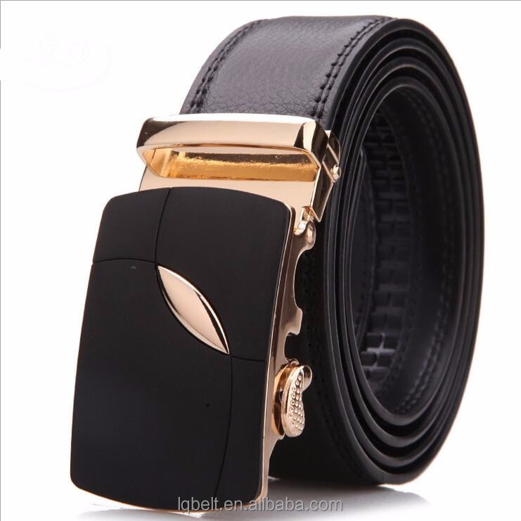 classic fashion Men's Automatic buckle belts gold Genuine Leather belts for men