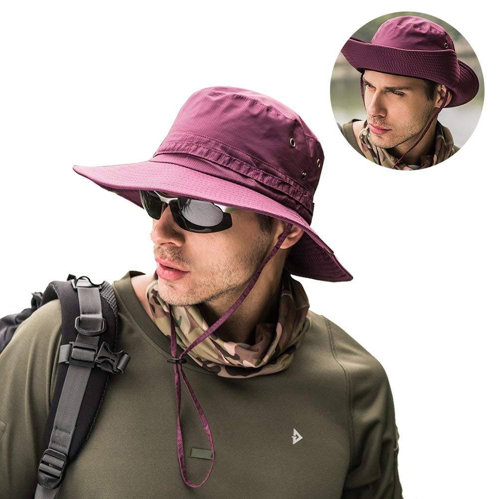 Get Quotations · Peicees Fishing Hat Summer Sun Boonie Hat UPF 50+ UV  Protection Wide Brim Cap Waterproof ed1bcbc7c2db