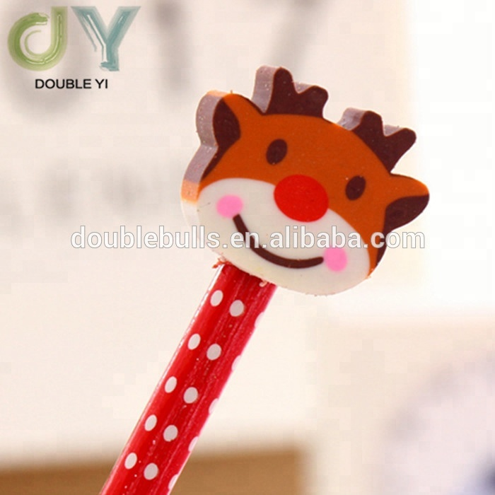 Cartoon Christmas custom rubber pencils children's learning supplies wholesale pencils