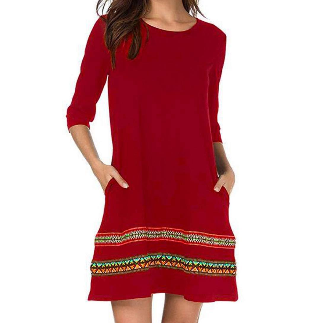 Clearance Sale! Joint Women Boho Dress, Ladies Fashion O-Neck Floral Embroidery Three Quarter Sleeve Loose Mini Dress (Medium, Red)