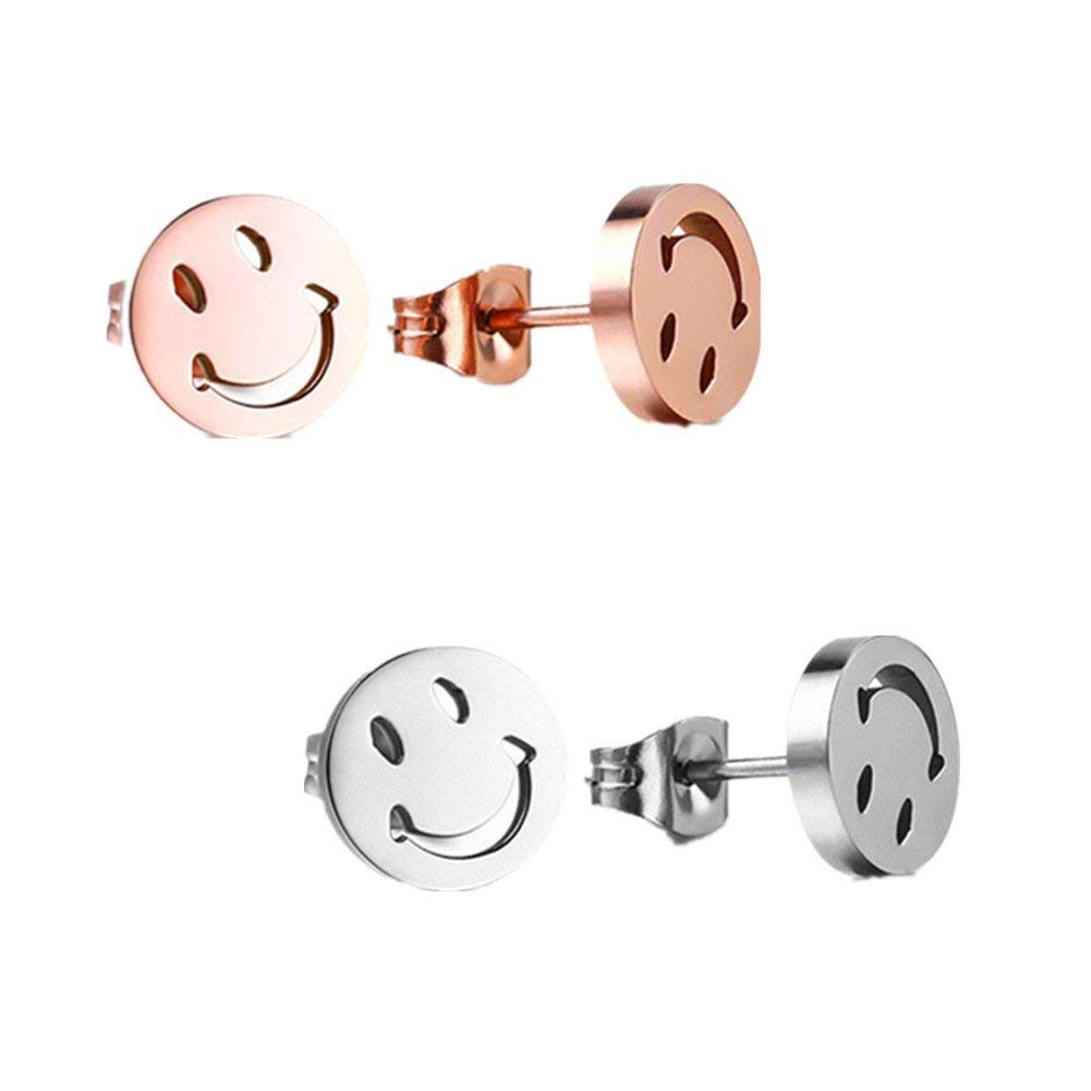 Womens Girls Ear Jewelry Stainless Steel Happy Smiley Smile Face Emoji Stud Earrings with Gift Box