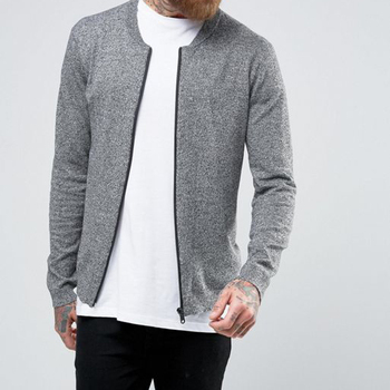 16d55b7e977 Fashion New Design Men Grey Winter Knitted Bomber Jackets Wholesale Jackets  In Cotton