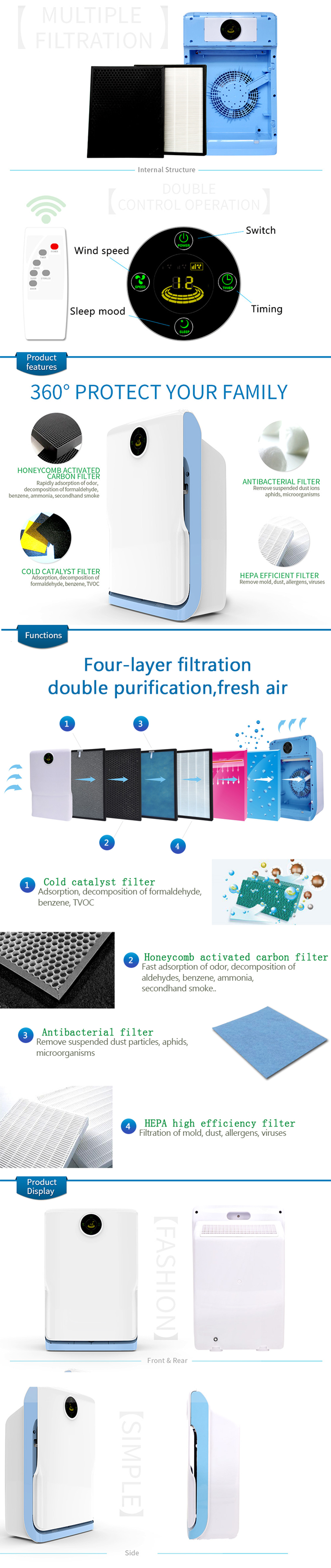 Olansi 2019 OEM ODM small size 7 filtrations office air purifier room air filter HEPA air cleaner for bedroom babyroom