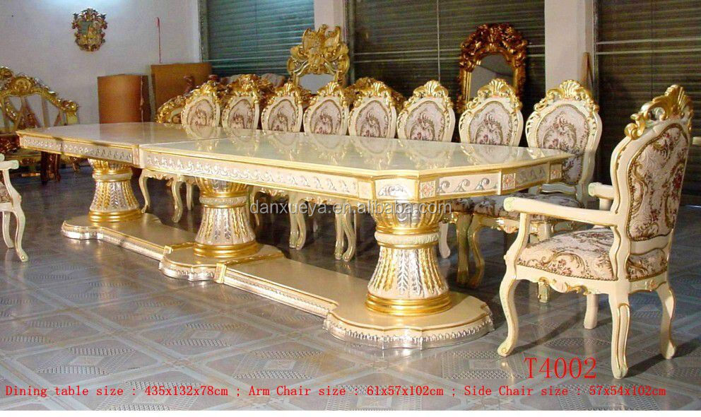 Royal Palace 435cm Silver Gold Gilded Carved Long Big Luxury