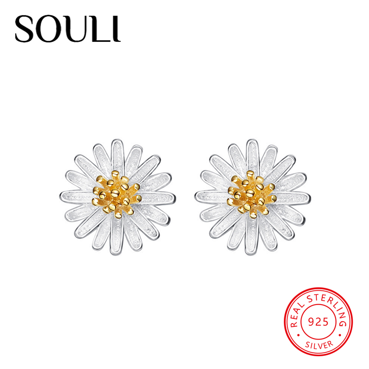 2018 Cute Daisy Shaped Pure White Gold Plated S925 Sterling Silver Sunflower Stud Earrings