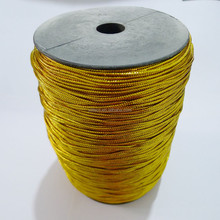 Diameter 2mm golden PET braided tag cord Metallic Cord for candy bag 500 yards/roll