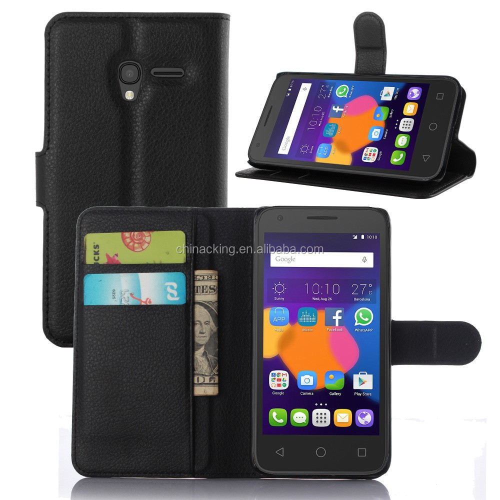 lychee pu leather case with wallet and card slots for Alcatel 5.0 inch Pixi 3