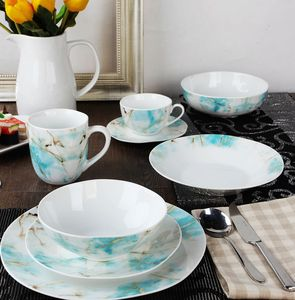 New bone china luxury dinnerware for daily use gold pattern