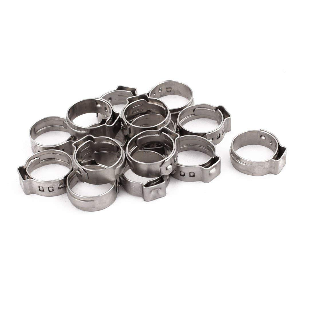 uxcell 13.7mm-16.2mm 304 Stainless Steel Adjustable Tube Hose Clamps Silver Tone 15pcs