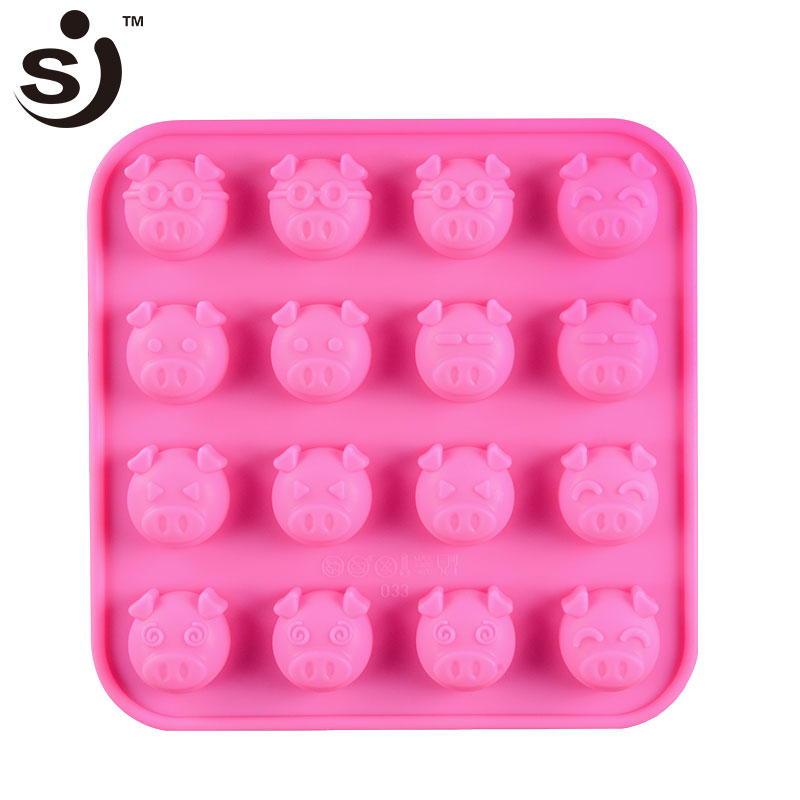 Lovely pig silicone chocolate mold formas silicone 3D pig cake chocolate decorating