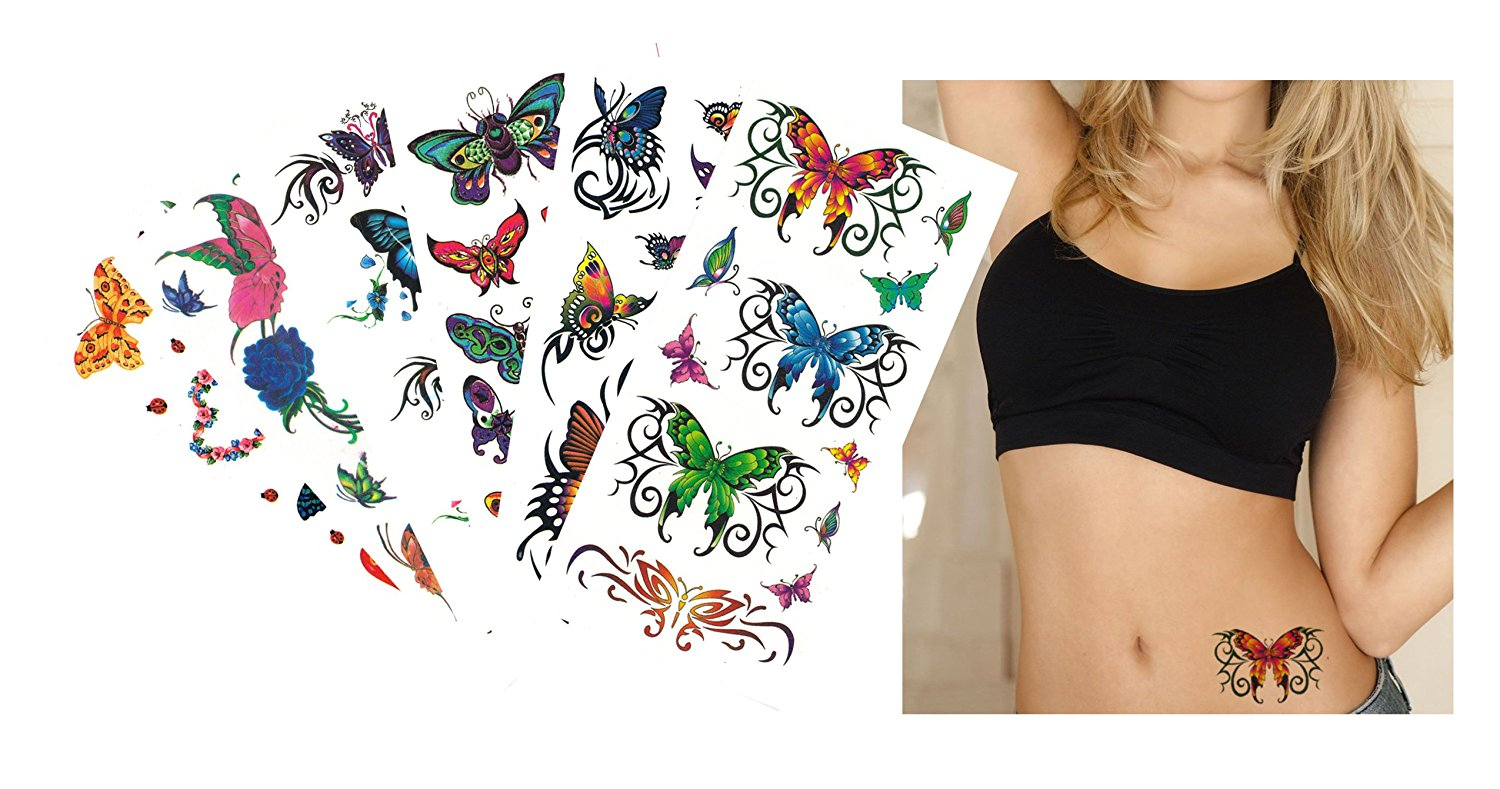 626342c5c Get Quotations · 6-pack Value Plus Butterflies Temporary Tattoos -  Butterfly Temporary Tattoos for Lower Back,
