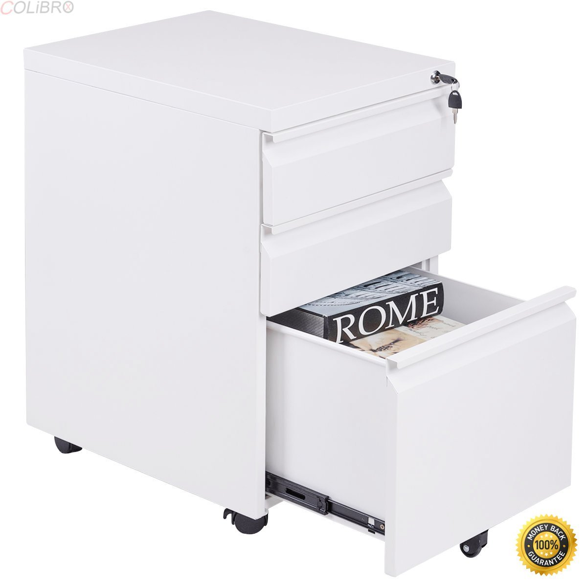 COLIBROX--File Cabinet Rolling Mobile A4 Drawers Pedestal Storage Steel Home Office White,cheap file cabinets,metal file cabinets,3 drawer lateral file cabinet,new rolling mobile file storage cabinet