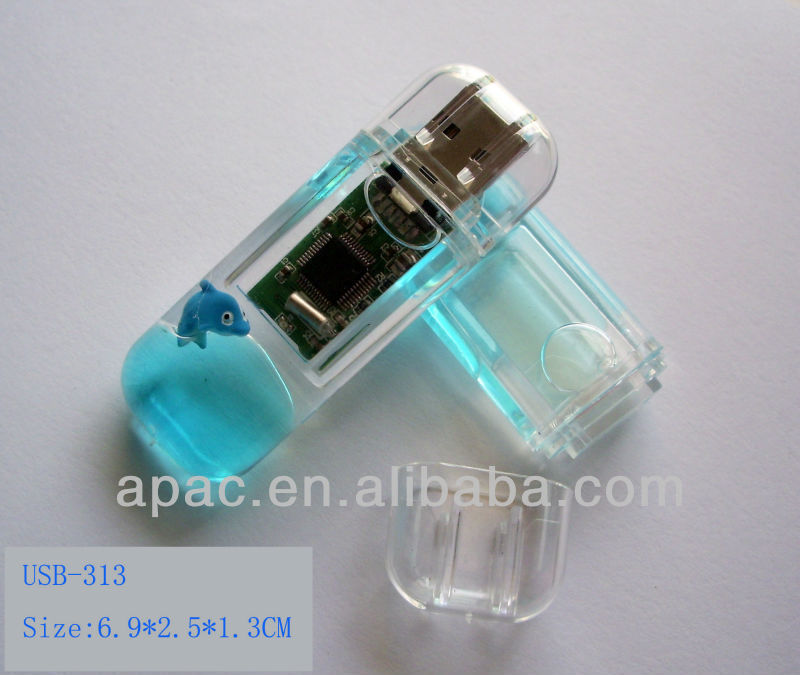 Translucent body clear style plastic 16gb usb flash drive