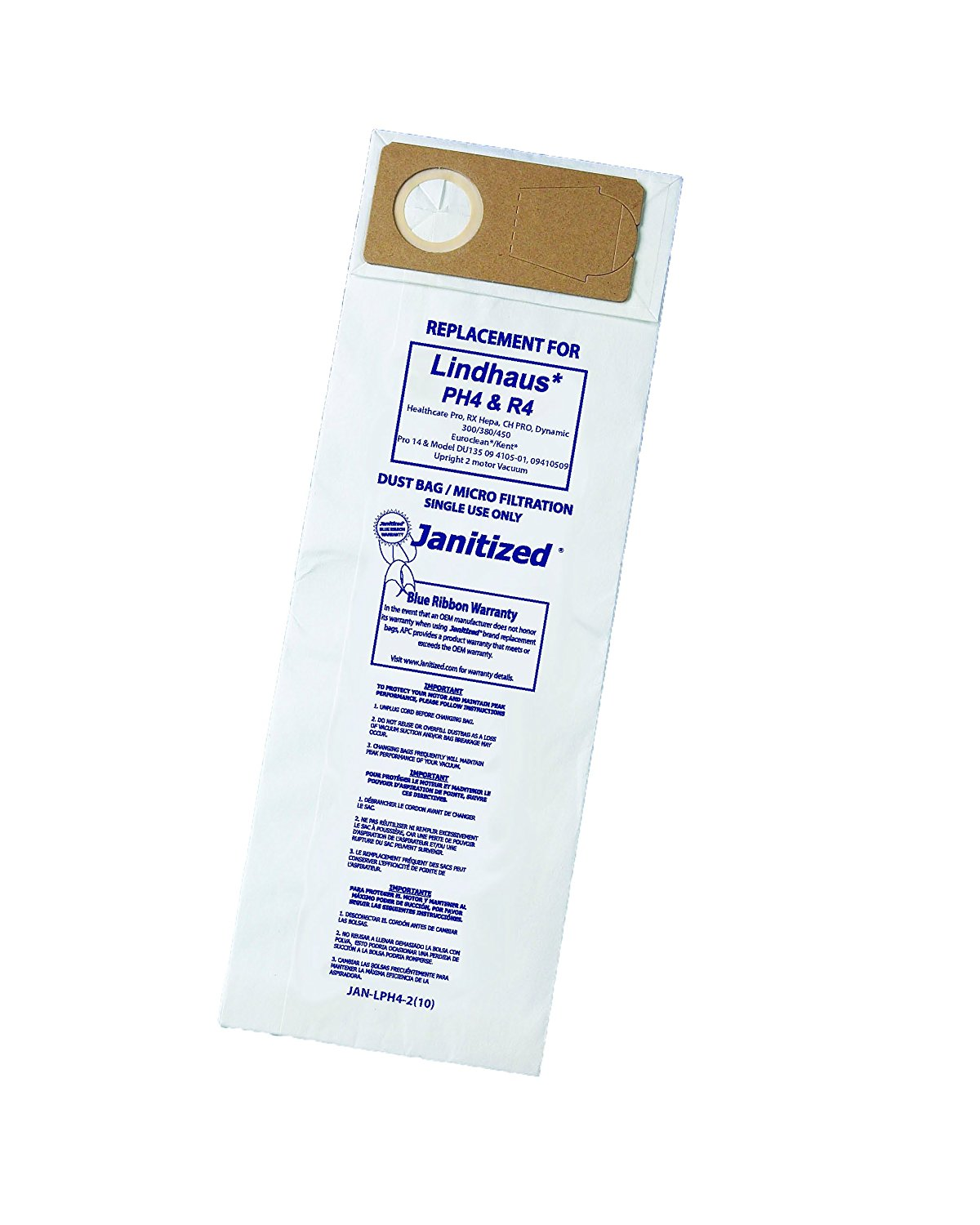 Janitized JAN-LPH4-2(10)Premium Replacement Commercial Vac Bag, Lindhaus Pro, Dynamic 300/380/450, OEM#PH4, R4, 141299001, 141296200 (Pack of 10)