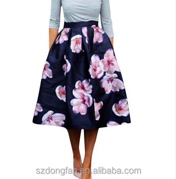 5c86d2a461e45 Women Peach Floral Print Elastic High Waist Pleated Long Midi Skater Skirt  2016 Spring New