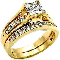 New Coming 316L stainless steel 4 prong setting 6*6 Square cz stone engagement ring set