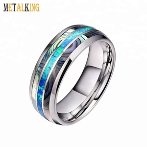 Mens High Polished Tungsten Carbide Ring Blue Opal & Abalone Shell Inlay Wedding Band 8mm