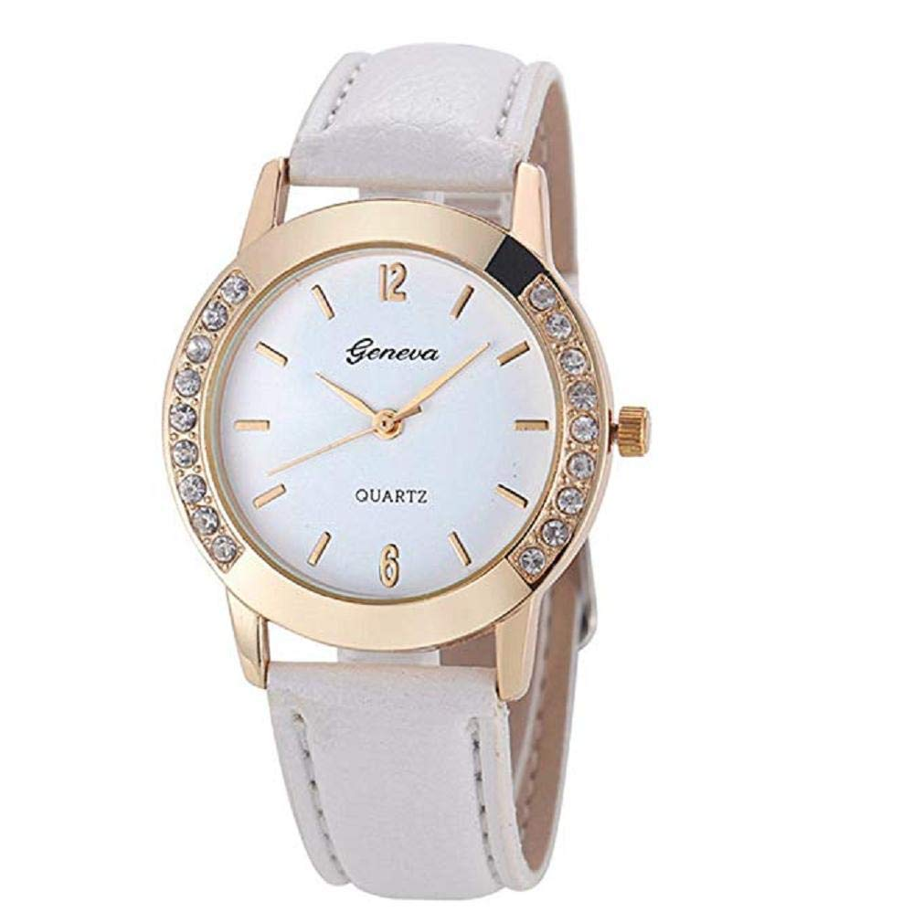 Women Quartz Watches,Windoson Unique Analog Fashion Clearance Lady Watches Female Watches Casual Wrist Watches for Women,Round Dial Case Comfortable PU Leather Watch (White)