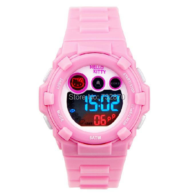 f5d30882a4f 2014 Fashion children lovely cartoon sport LED wristwatch swimming watch  for children waterproof hello kitty watch