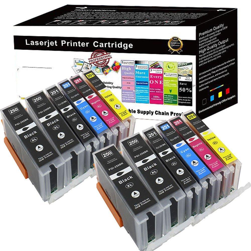 Wolfgray 12 PK Compatible Ink Cartridge PGI-250XL CLI-251XL Compatible for PIXMA MX922 MG5522 MG5620 MG6620 MG6600 MX920 iX6820 iP7220 (4 Large BK+2 BK+2 C+2 M+2 Y)