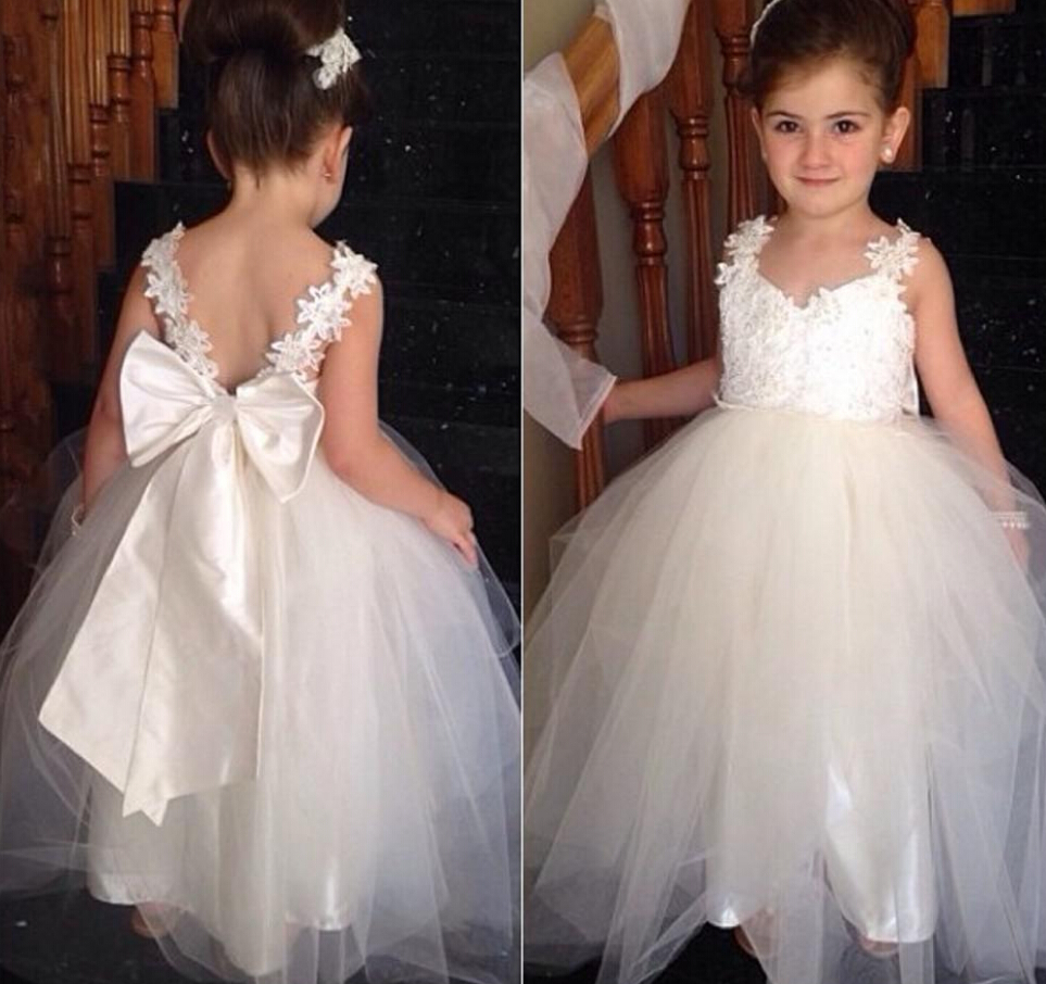 Flower Girl Dresses For Garden Weddings: Bow Knot Cute Flower Girls Dresses For Weddings 2016 Ball