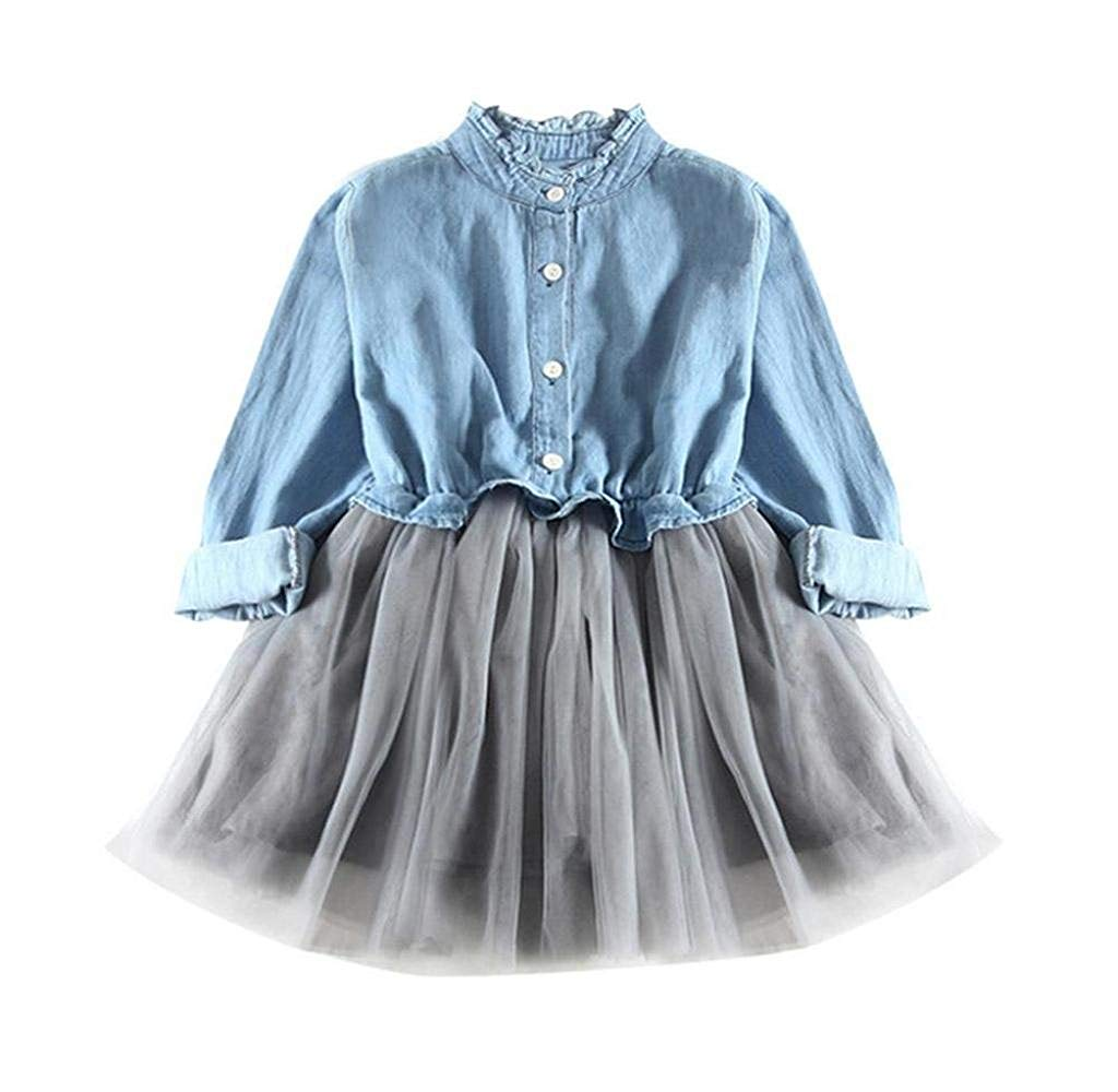 1467bc30aa Get Quotations · Singleluci Little Girls Denim Dress Princess Dresses Denim  Tops Tulle Tutu Skirts