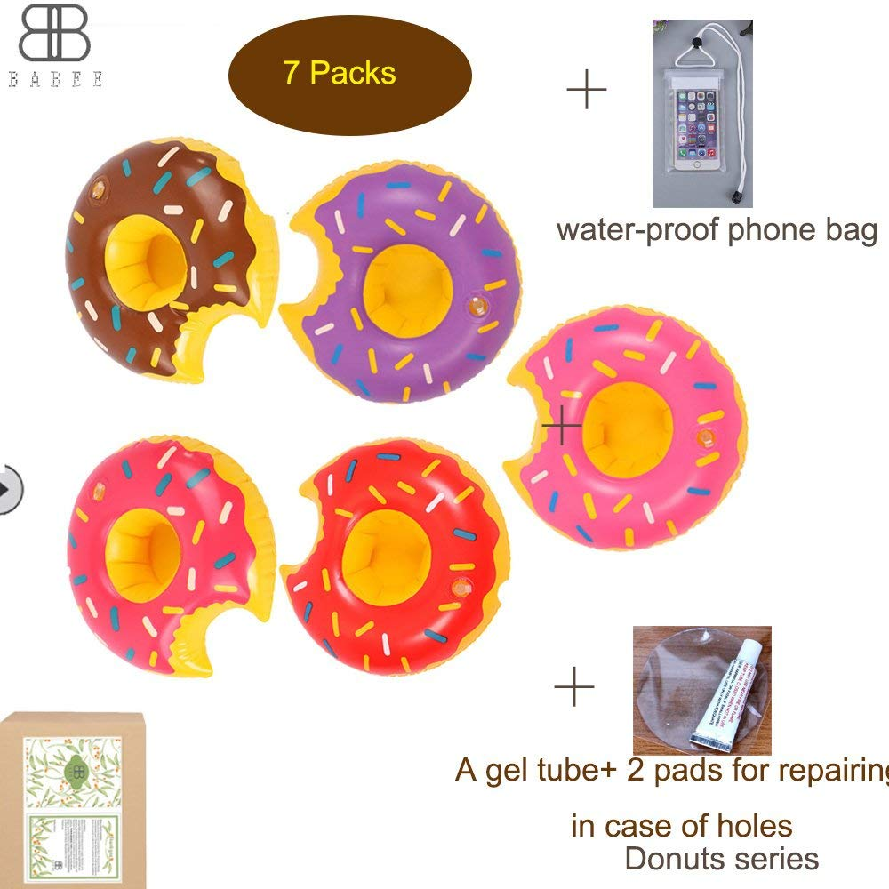 BABEE 7 Packs Inflatable Drink Float Pool Drink Holder, Floating Cup Holder Drink Floaties Drink Coasters, Donuts with Waterproof Phone Bag & Repair Kit