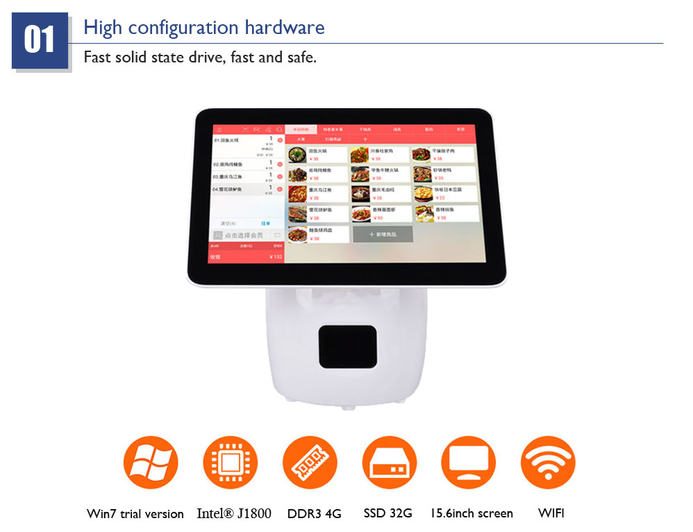Supermarkt pos 15.6 inch all in one POS capacitieve dual touch screen POS terminal Ingebouwde 80mm AOI auto snijden printer HSPOS
