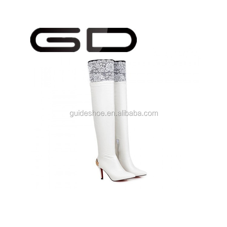 GD stiletto women thigh high PU leather pointed toe long boot over the knee length